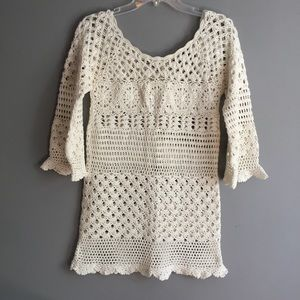 Lucky Brand Crochet Mini Dress Coverup Bell Sleeve